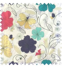 Blue red purple beige black white color beautiful floral designs daisy flowers long swirls leaves small dots with transparent net finished butterfly heart patterns sheer curtain