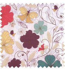 Blue red purple beige black white color beautiful floral designs daisy flowers long swirls leaves small dots with thick finished butterfly heart patterns main curtain