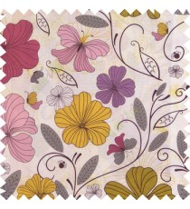 Green purple black grey white color beautiful floral designs daisy flowers long swirls leaves small dots with thick finished butterfly heart patterns main curtain