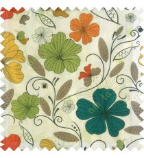 Orange blue black yellow white color beautiful floral designs daisy flowers long swirls leaves small dots with transparent net finished butterfly heart patterns sheer curtain