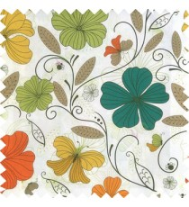 Orange blue black yellow white color beautiful floral designs daisy flowers long swirls leaves small dots with thick finished butterfly heart patterns main curtain