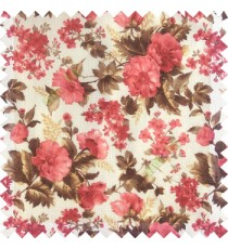 Red brown white color natural complete flower small Japanese floral pattern with transparent net finished texture base fabric sheer curtain