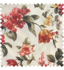 Red brown white yellow gold color beautiful rose flower big leaves with texture finished polyester base fabric sheer curtain