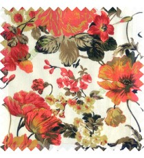 Red brown black white color beautiful flower small Japanese leaves flower buds with transparent net finished base fabric sheer curtain