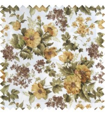 Green gold white color natural complete flower small Japanese floral pattern with thick texture base fabric main curtain