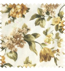 Green gold white yellow color beautiful rose flower big leaves with texture finished polyester base fabric sheer curtain
