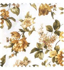 Green gold white yellow color beautiful rose flower big leaves with texture finished polyester base fabric main curtain