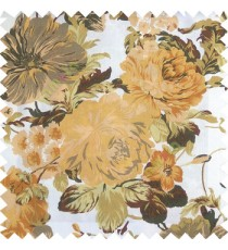 Gold brown white green color beautiful flower small Japanese leaves flower buds with thick polyester finished base fabric main curtain