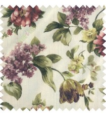 Dark green purple white color beautiful rose flower big leaves with texture finished polyester base fabric sheer curtain