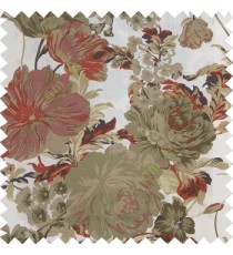 Maroon grey blue cream purple color beautiful flower small Japanese leaves flower buds with thick polyester finished base fabric main curtain