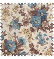 Blue brown gold white color natural complete flower small Japanese floral pattern with transparent net finished texture base fabric sheer curtain