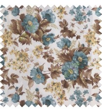 Blue brown gold white color natural complete flower small Japanese floral pattern with thick texture base fabric main curtain