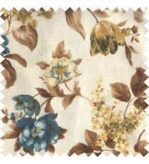 Blue brown white gold color beautiful rose flower big leaves with texture finished polyester base fabric sheer curtain