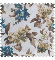 Blue brown white gold color beautiful rose flower big leaves with texture finished polyester base fabric main curtain