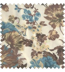 Blue brown gold white color beautiful flower small Japanese leaves flower buds with transparent net finished base fabric sheer curtain