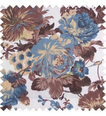 Blue brown gold white color beautiful flower small Japanese leaves flower buds with thick polyester finished base fabric main curtain