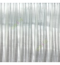 Pure white vertical pencil stripes shiny surface small dots texture finished sheer fabric