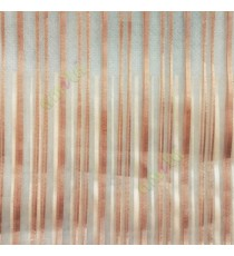 Brown vertical pencil stripes shiny surface small dots texture finished sheer fabric