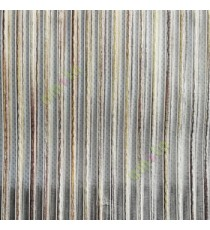 Dark brown gold white color vertical chenille stripes horizontal lines busy lines sheer fabric