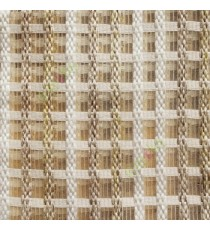 Light brown gold white finished vertical and horizontal stripes embroidery weaving pattern sheer curtain