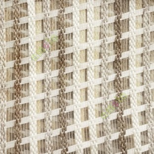 Brown cream finished vertical and horizontal stripes embroidery weaving pattern sheer curtain