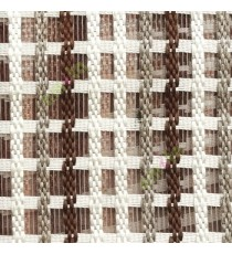 Dark brown cream finished vertical and horizontal stripes embroidery weaving pattern sheer curtain