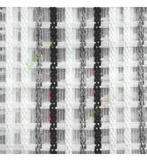 Black white grey finished vertical and horizontal stripes embroidery weaving pattern sheer curtain