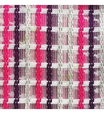 Purple pink gold cream finished vertical and horizontal stripes embroidery weaving pattern sheer curtain