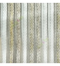 Gold white brown color vertical embroidery soft finished stripes sheer curtain