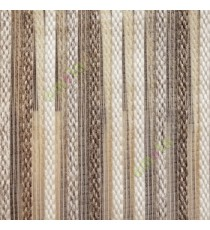 Brown beige color vertical embroidery soft finished stripes sheer curtain