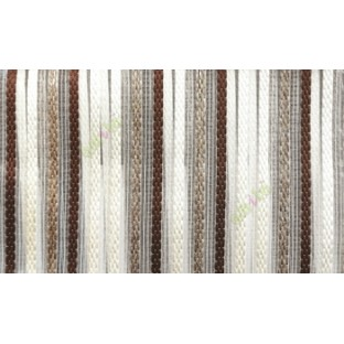 Dark chocolate brown beige color vertical embroidery soft finished stripes sheer curtain