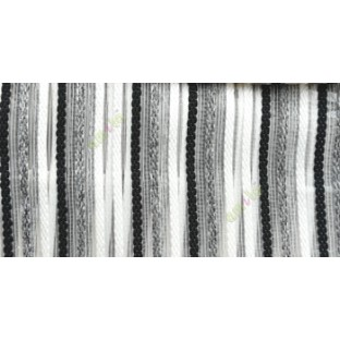 Black white grey color vertical embroidery soft finished stripes sheer curtain
