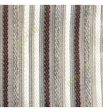 Brown cream color vertical embroidery soft finished stripes sheer curtain