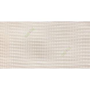 Beige vertical and horizontal stripes checks pattern transparent net finished surface sheer curtain