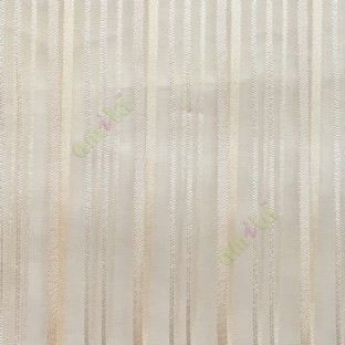 Cream color vertical stripes with transparent net fabric texture finished sheer curtain