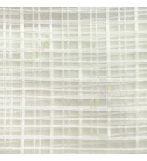 Cream color vertical and horizontal stripes texture finished checks pattern transparent net background sheer curtain fabric