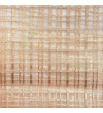 Dark brown color vertical and horizontal stripes texture finished checks pattern transparent net background sheer curtain fabric