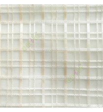 Beige color vertical and horizontal stripes texture finished checks pattern transparent net background sheer curtain fabric