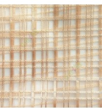 Gold color vertical and horizontal stripes texture finished checks pattern transparent net background sheer curtain fabric