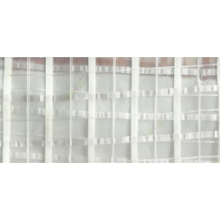 Cream color vertical and horizontal stripes texture finished checks pattern sheer fabric