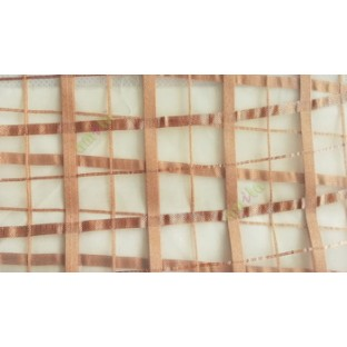 Dark brown color vertical and horizontal stripes texture finished checks pattern sheer fabric