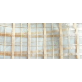 Beige color vertical and horizontal stripes texture finished checks pattern sheer fabric