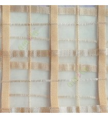 Gold color vertical and horizontal stripes texture finished checks pattern sheer fabric
