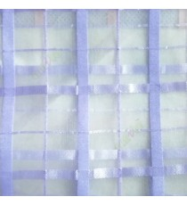 Purple color vertical and horizontal stripes texture finished checks pattern sheer fabric