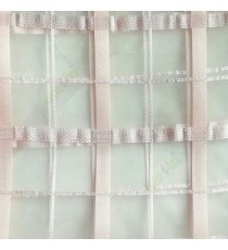 Peach color vertical and horizontal stripes texture finished checks pattern sheer fabric
