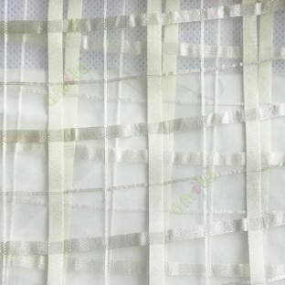Light green color vertical and horizontal stripes texture finished checks pattern sheer fabric