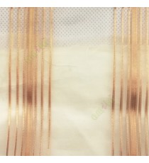 Brown color vertical stripes shiny surface light reflecting matrial transparent net background sheer curtain fabric