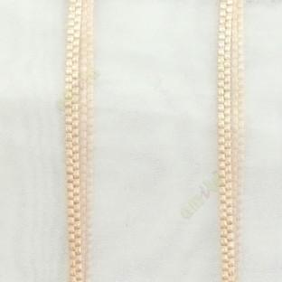 Beige color vertical wide stripes digital lines transparent net background sheer curtain fabric