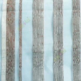 Blue brown cream color vertical bold stripes straight lines transparent net background sheer fabric