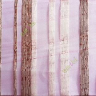 Pink cream brown color vertical bold stripes straight lines transparent net background sheer fabric